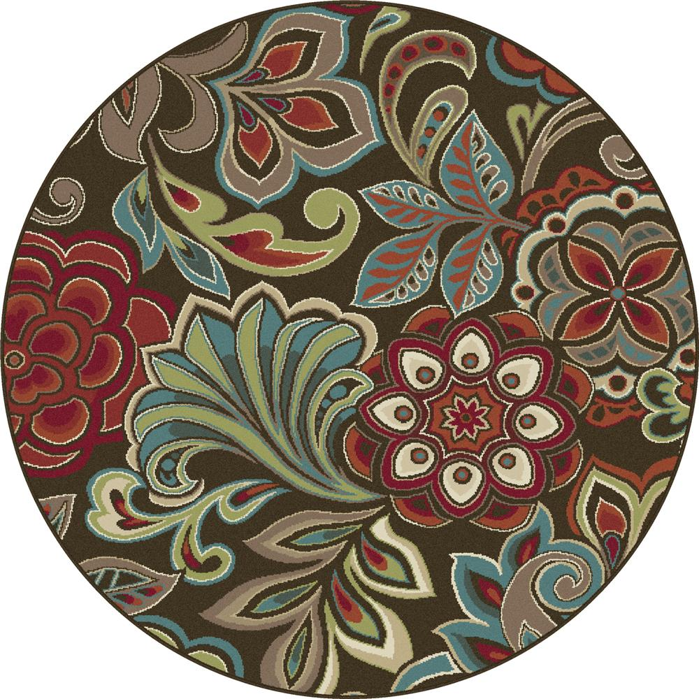 Tayse DCO1024 6RND Deco Dilek Brown 5 ft. 3 in. Round Transitional Area Rug