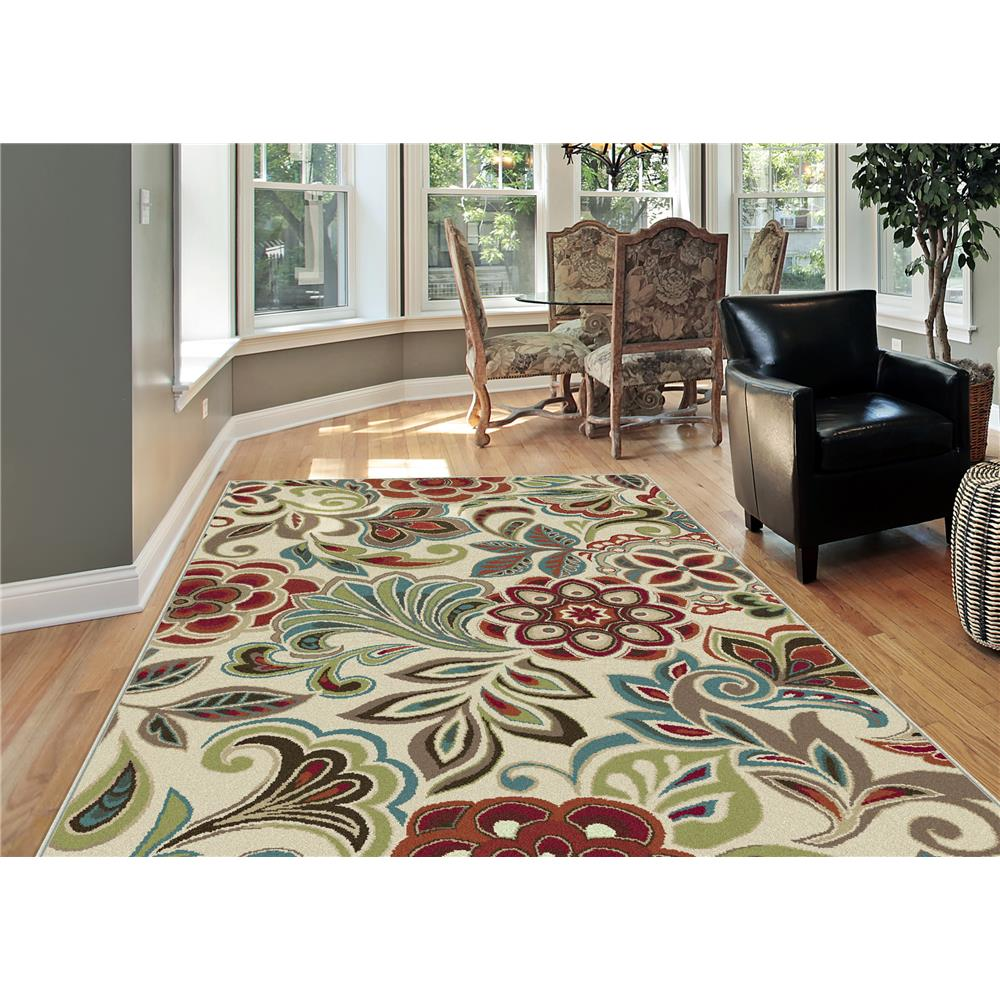 Tayse DCO1025 5x8 Deco Dilek Ivory 5 ft. 3 in. x 7 ft. 3 in. Transitional Area Rug