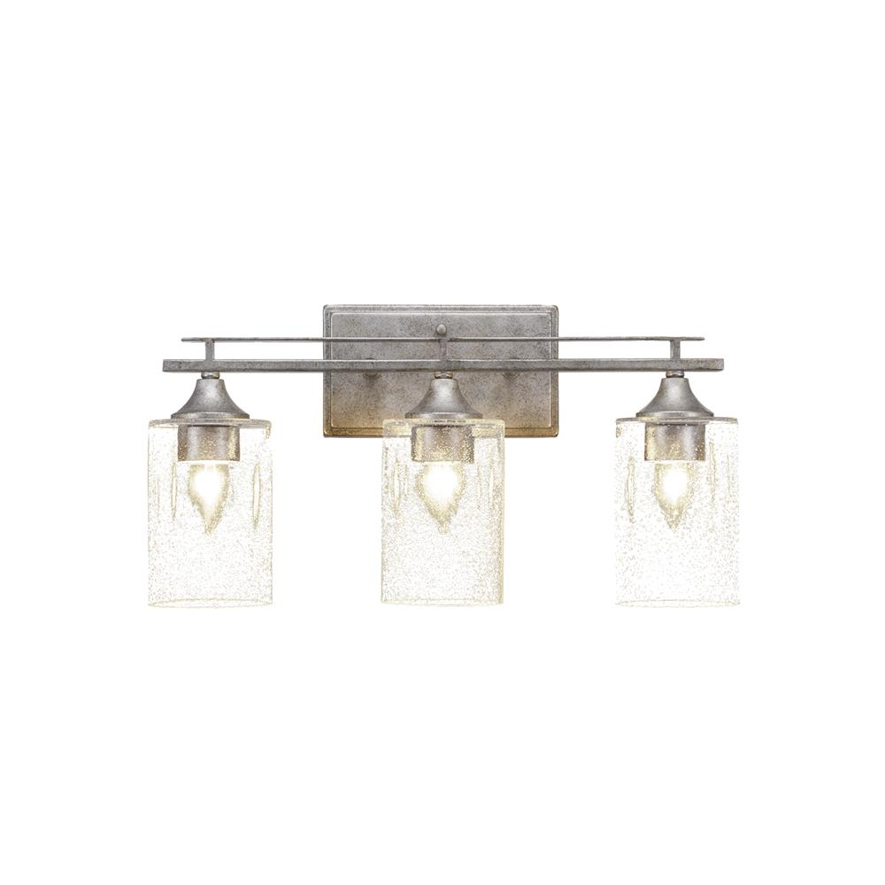 "Toltec Lighting 133-AS-300 Uptowne 3 Light Bath Bar Shown In Aged Silver Finish With 4"" Clear Bubble Glass"