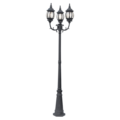 Trans Globe Lighting 4090 BK 3 Light Pole Lantern in Black