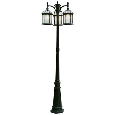 Trans Globe Lighting 4189 BK 3 Light Pole Lantern in Black