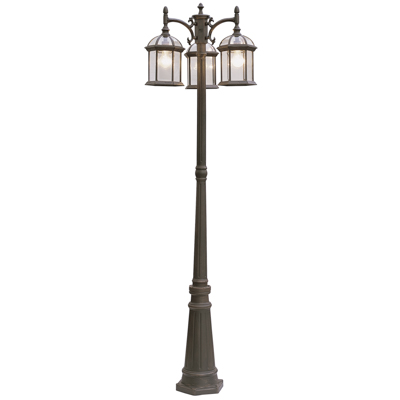 Trans Globe Lighting 4189 RT 3 Light Pole Lantern in Rust