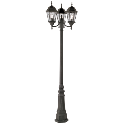 Trans Globe Lighting 4719 BK 3 Light Pole Lantern in Black