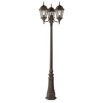 Trans Globe Lighting 4719 RT 3 Light Pole Lantern in Rust