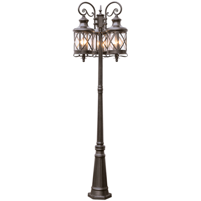 Trans Globe Lighting 5127 ROB 3 Lantern (9 Light) Pole Lantern in Rubbed Oil Bronze