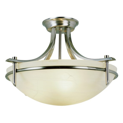 Trans Globe Lighting 8172 BN 3 Light Semi-Flush-mount in Brushed Nickel