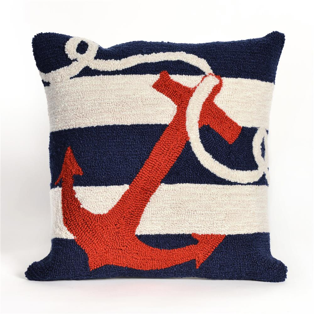 Liora Manne 7FP8S140033 FRONTPORCH ANCHOR NAVY Pillow