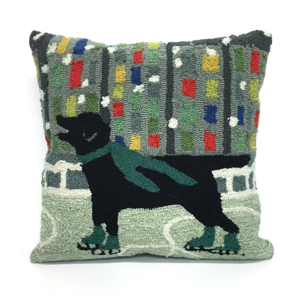 "Liora Manne 7FP8S152606 1526/06 Holiday Ice Dog Green 18"" Square Pillow"