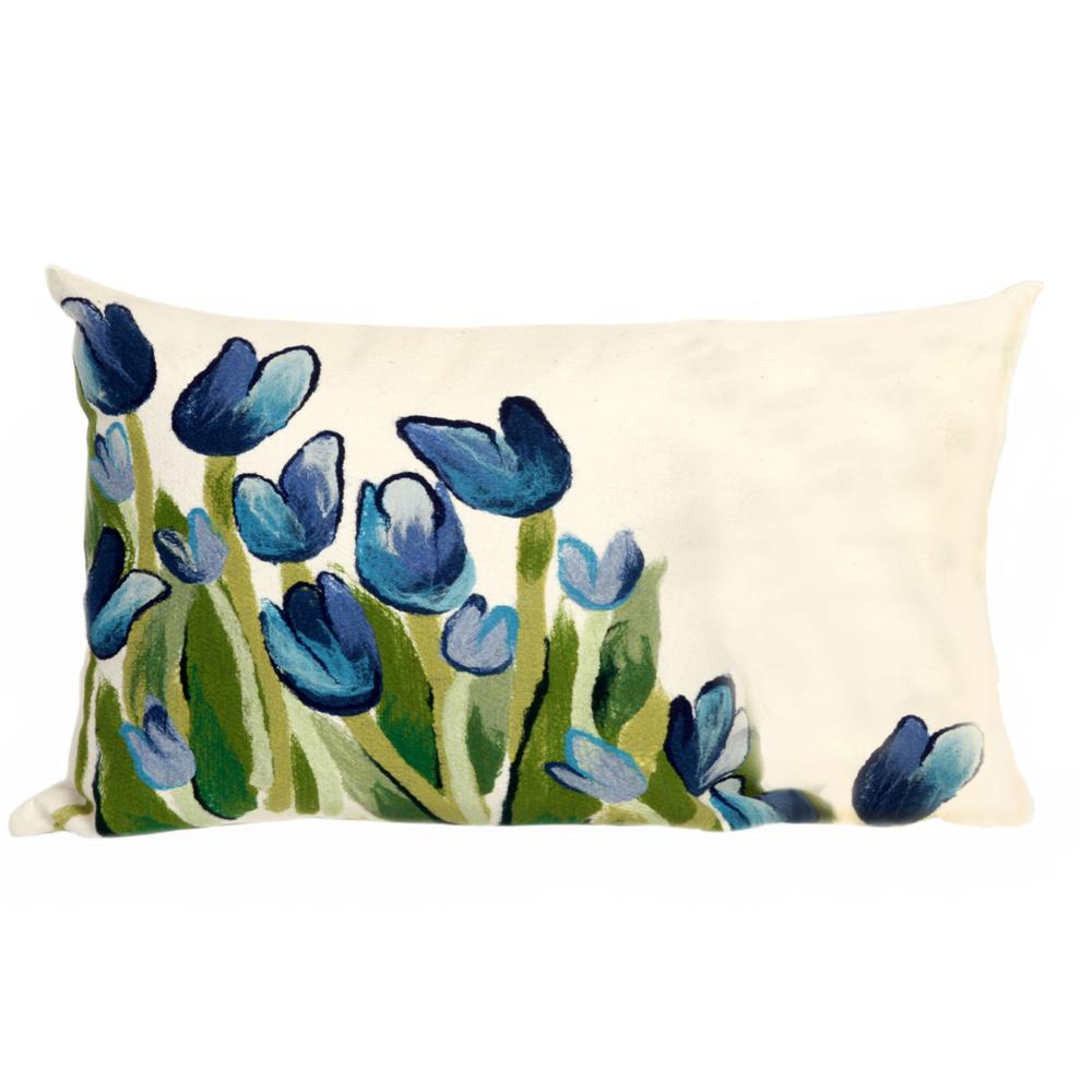 Liora Manne 7SB1S413403 VISIONS II ALLOVER TULIPS BLUE Pillow