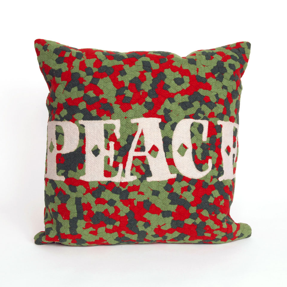"Liora Manne 7SB2S420124 Peace Red 20"" Square Pillow"