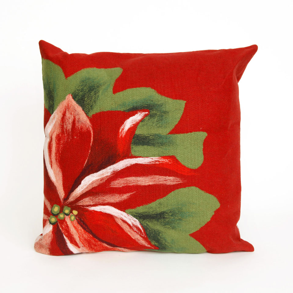 "Liora Manne 7SB2S420524 4205/24 Poinsettia Red 20"" Square Pillow"