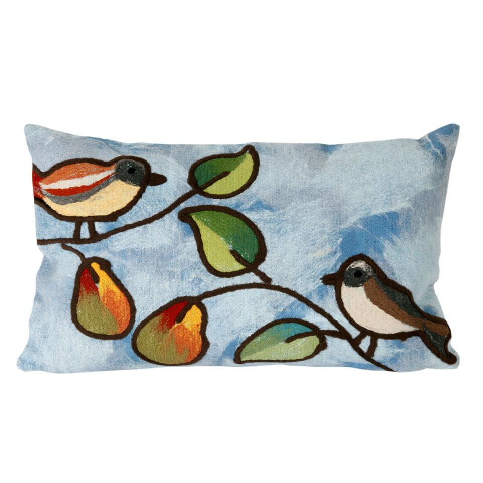 Liora Manne 7SC1S411903 VISIONS III SONG BIRDS BLUE Pillow