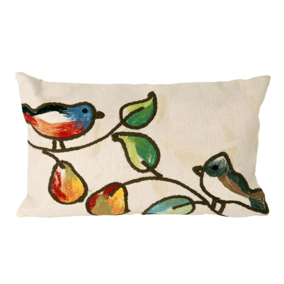 Liora Manne 7SC1S411912 VISIONS III SONG BIRDS CREAM Pillow