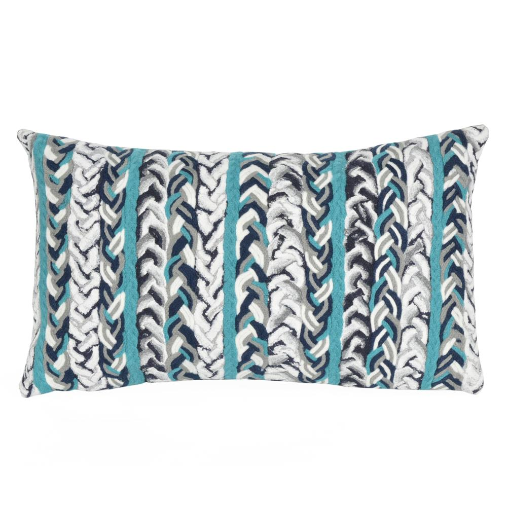 Liora Manne 7SC1S412504 4125/04 BRAIDED STRIPE OCEAN Pillow
