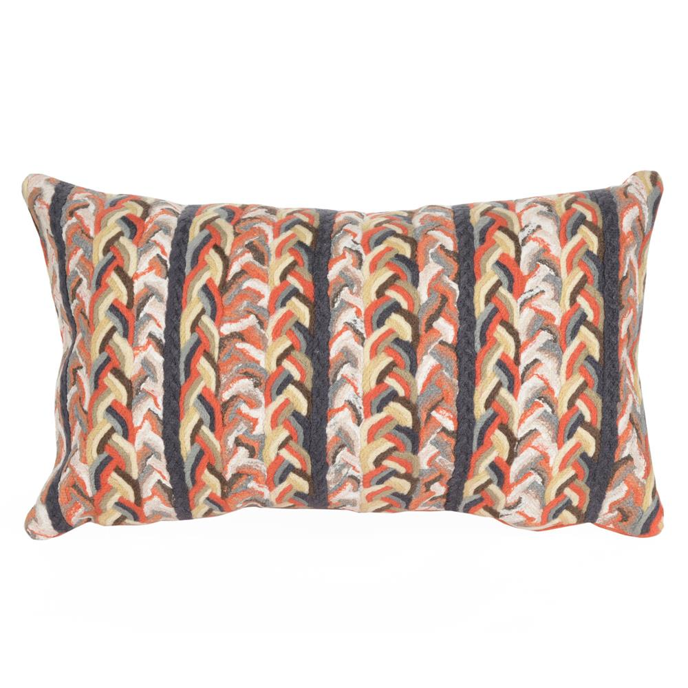 Liora Manne 7SC1S412519 4125/19 BRAIDED STRIPE EARTH Pillow