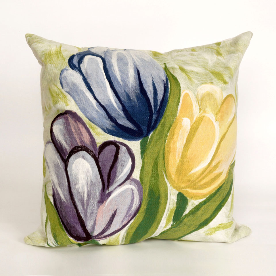Liora Manne 7SC2S320806 VISIONS III TULIPS COOL Pillow