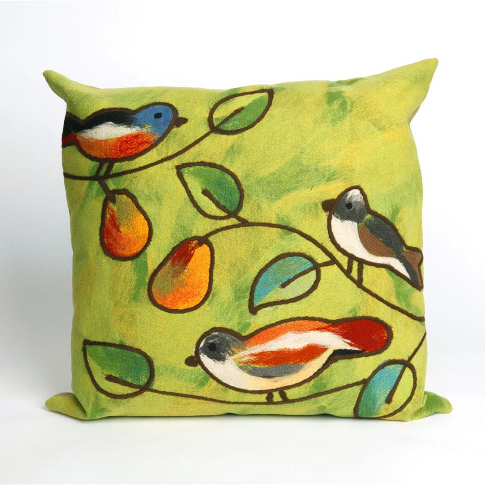 Liora Manne 7SC2S411906 VISIONS III SONG BIRDS GREEN Pillow