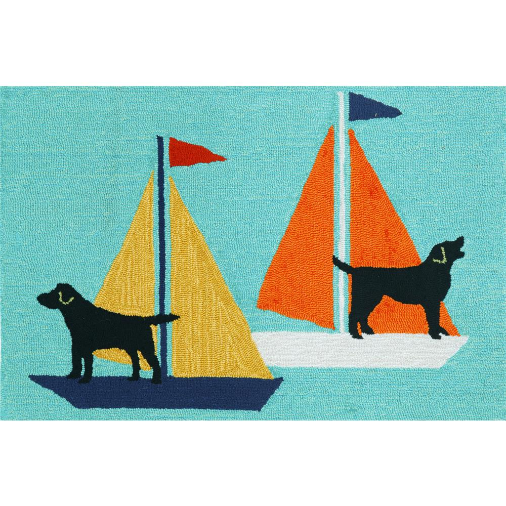 "Liora Manne 1402/03 SAILING DOGS BLUE Hand Tufted Indoor/Outdoor Area Rug in 20""X30"""