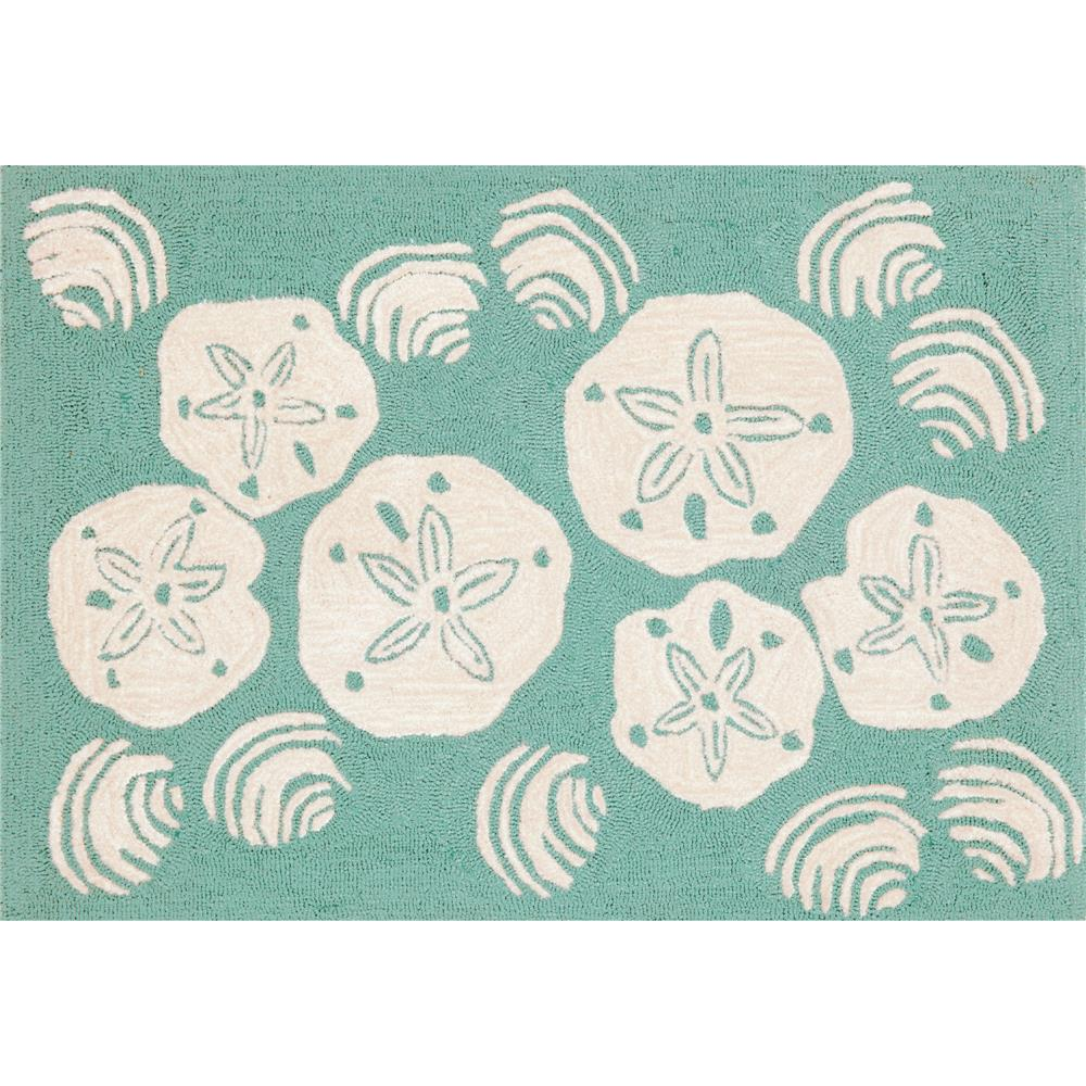 "Liora Manne 1408/04 SHELL TOSS AQUA Hand Tufted Indoor/Outdoor Area Rug in 20""X30"""
