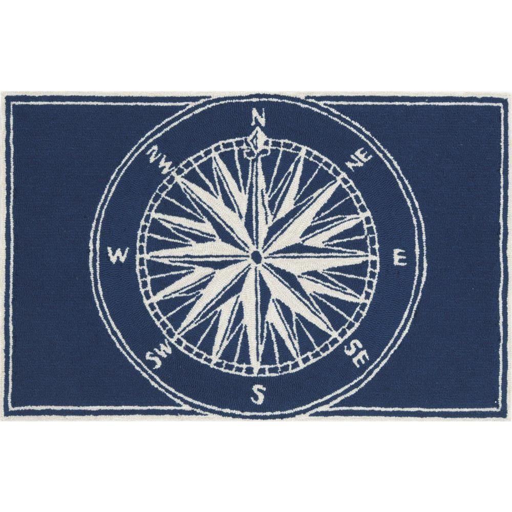 "Liora Manne 1447/33 COMPASS NAVY Hand Tufted Indoor/Outdoor Area Rug in 20""X30"""