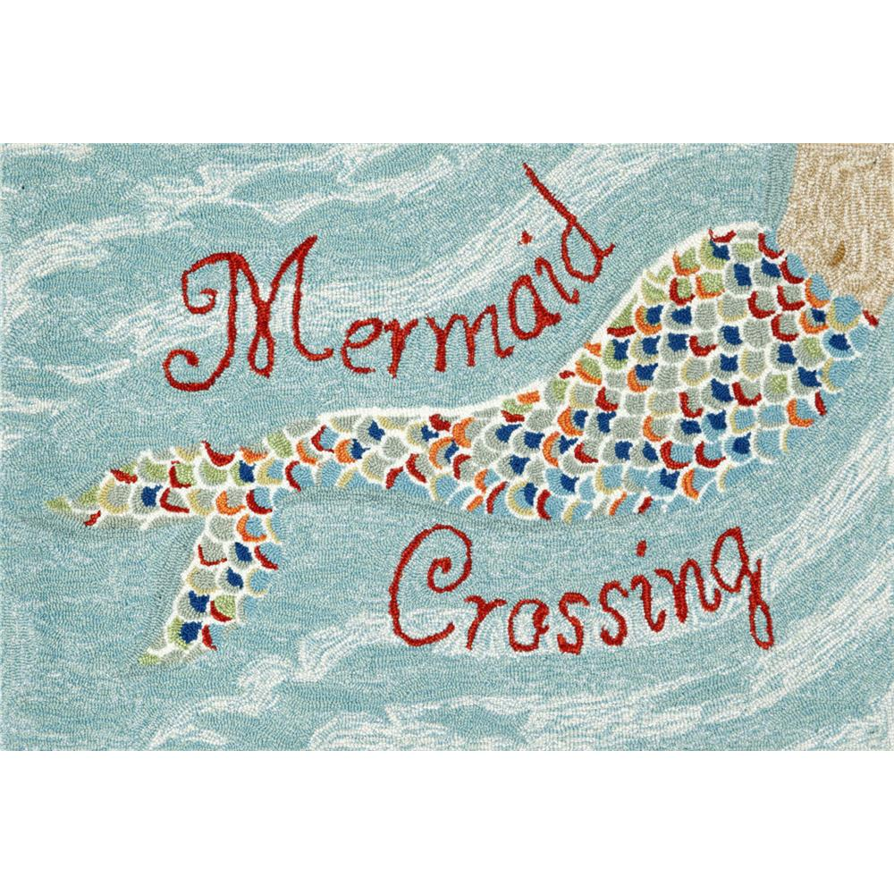 "Liora Manne 1448/03 MERMAID CROSSING WATER Hand Tufted Indoor/Outdoor Area Rug in 20""X30"""