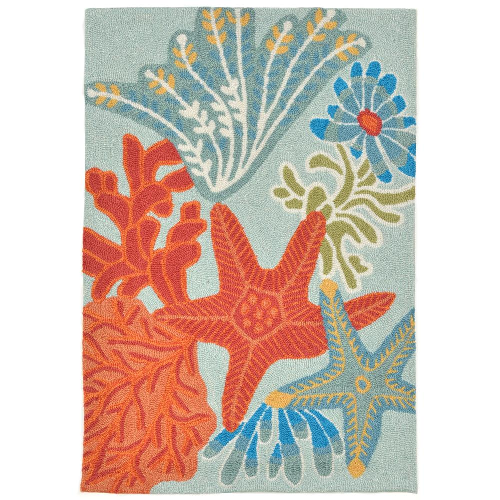 "Liora Manne 2256/04 OCEAN SCENE AQUA Hand Tufted Indoor/Outdoor Area Rug in 24""X36"""