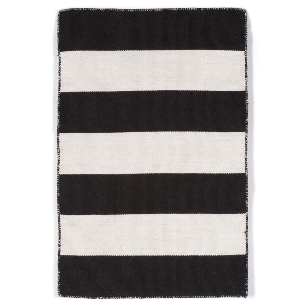 "Liora Manne 6302/48 RUGBY STRIPE BLACK Hand Woven Indoor/Outdoor Area Rug in 24""X36"""