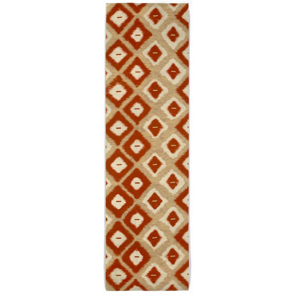 "Liora Manne VCFR8309524 3095/24 Ikat Diamonds Red - 27"" X 8"
