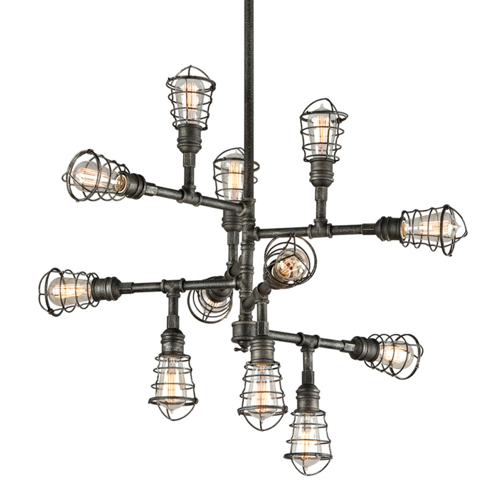Troy Lighting F3817 Conduit 12 Light Large Chandelier in Old Silver