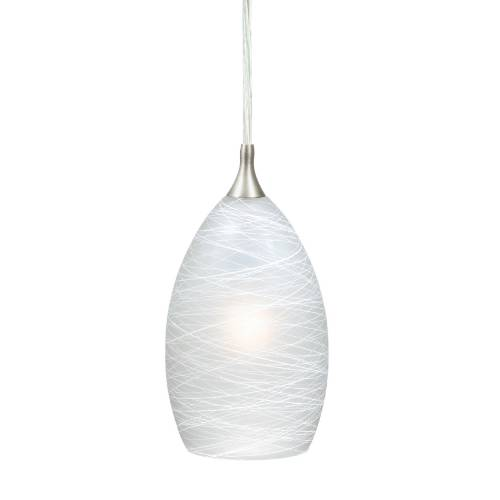 "Vaxcel Lighting PD57111SN Milano 4-1/2"" Mini Pendant Satin Nickel w/Cocoon Glass"
