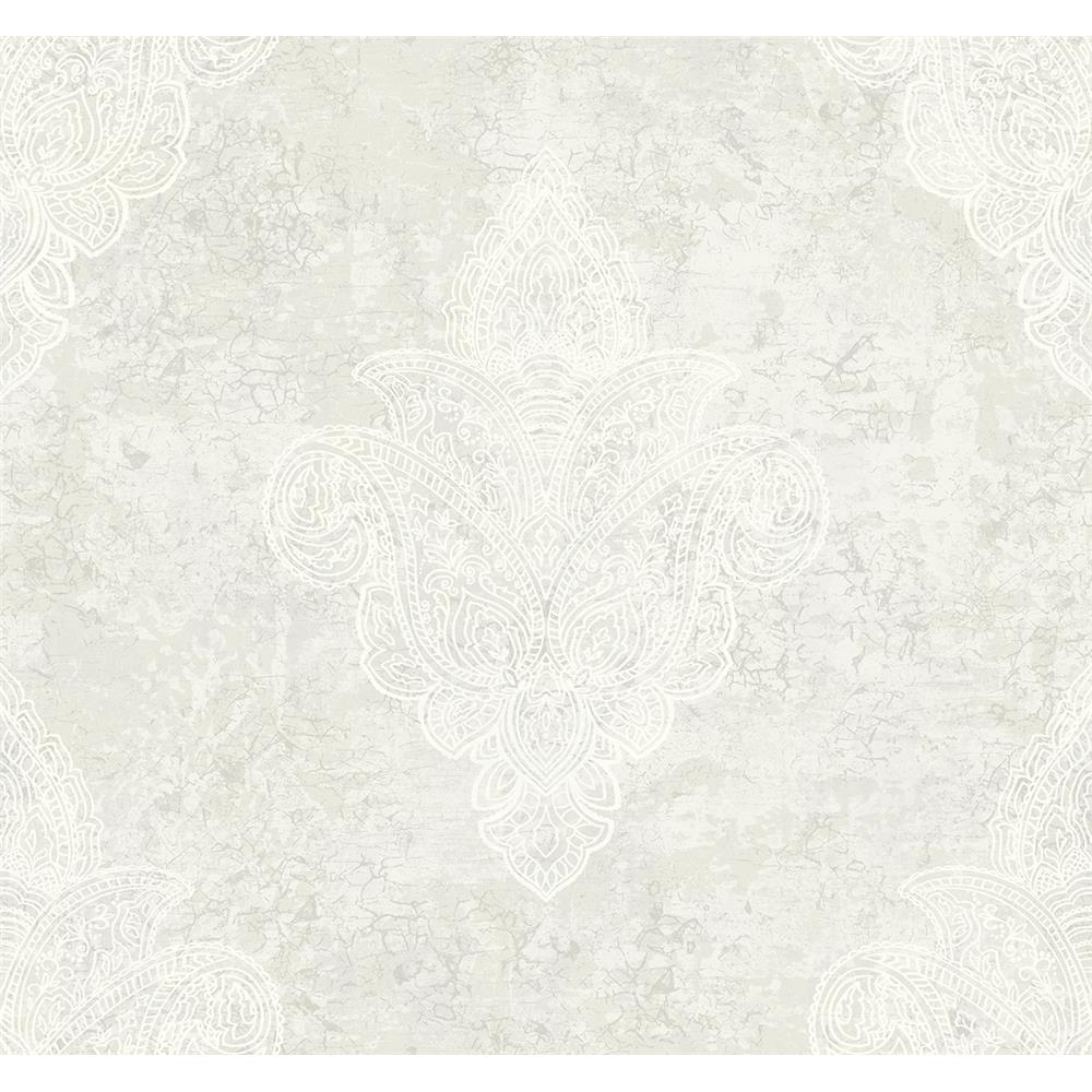 Wallquest DD11600 Patina Paisley Spot Wallpaper in Grey