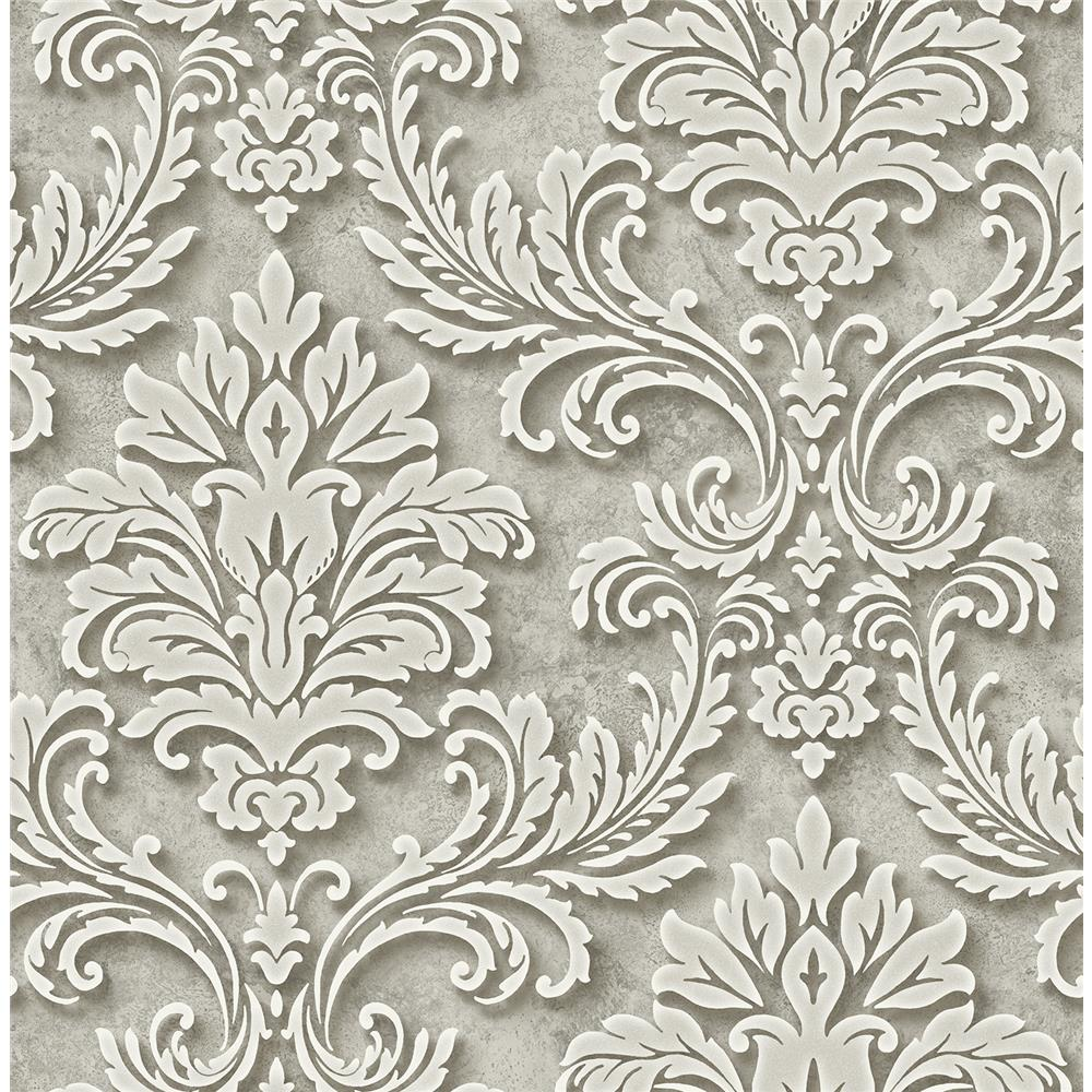 Wallquest DS60107 3D Classical Framed Damask Wallpaper