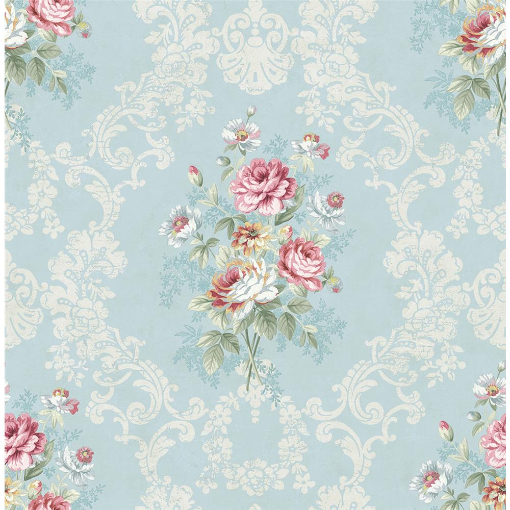 Wallquest FL90002 French Cameo Bouquet Floral Wallpaper in Neutral