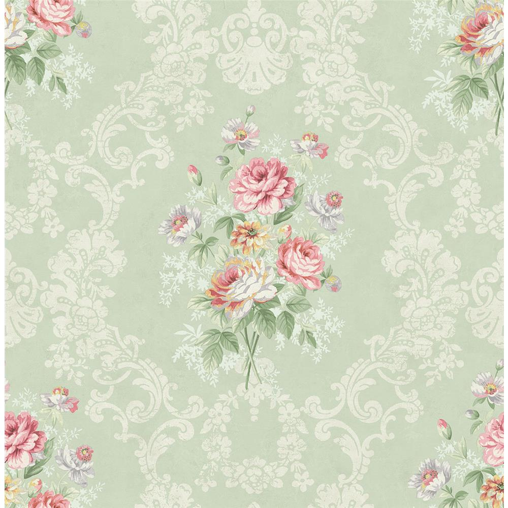 Wallquest FL90004 French Cameo Bouquet Floral Wallpaper in Green