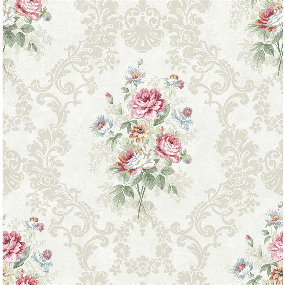Wallquest FL90012 French Cameo Bouquet Floral Wallpaper in Grey