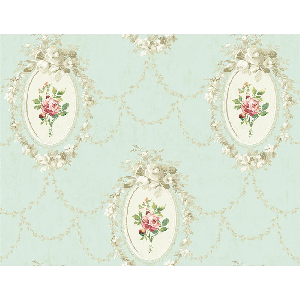 Wallquest FL90202 French Cameo Full Bloom Toile Wallpaper in Green