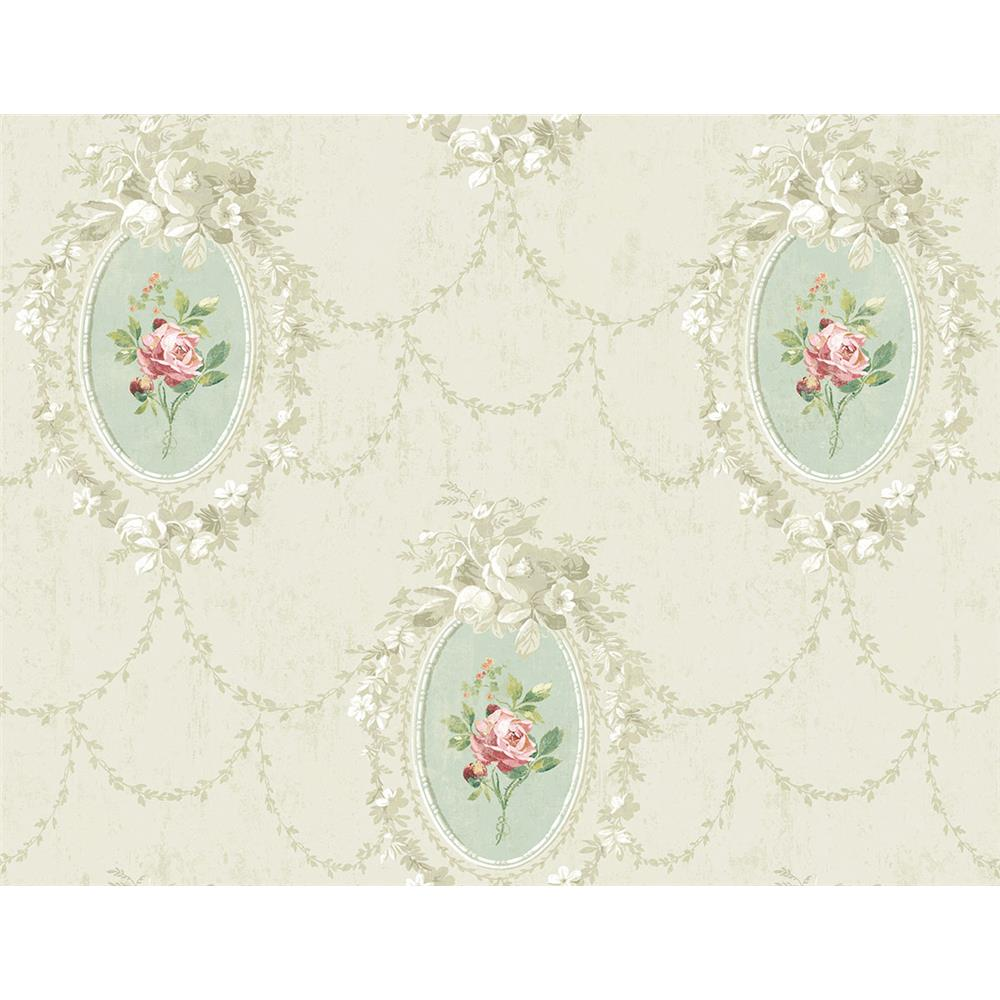 Wallquest FL90204 French Cameo Full Bloom Toile Wallpaper in Green