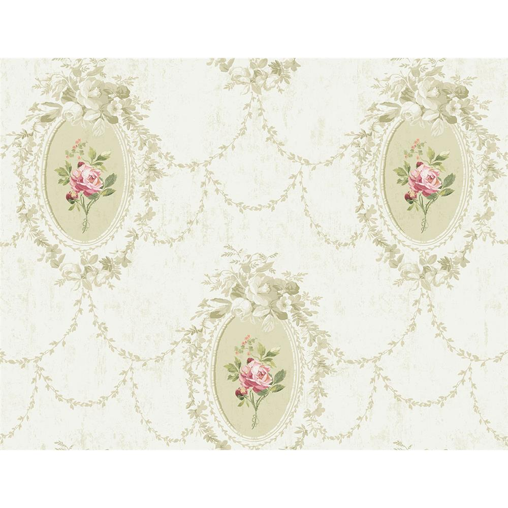 Wallquest FL90207 French Cameo Full Bloom Toile Wallpaper in Green