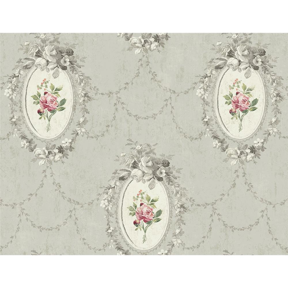 Wallquest FL90208 French Cameo Full Bloom Toile Wallpaper in Grey