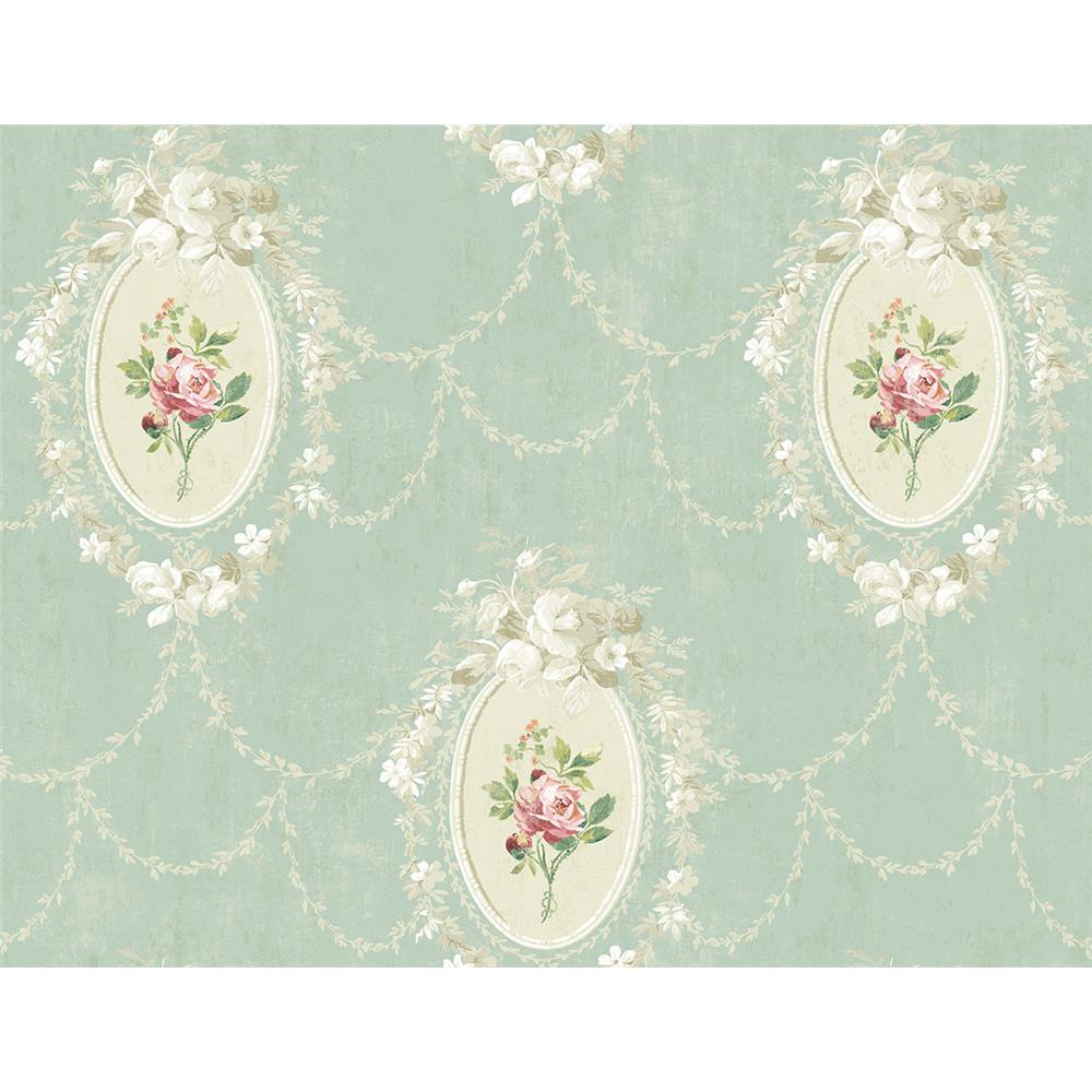 Wallquest FL90214 French Cameo Full Bloom Toile Wallpaper in Green