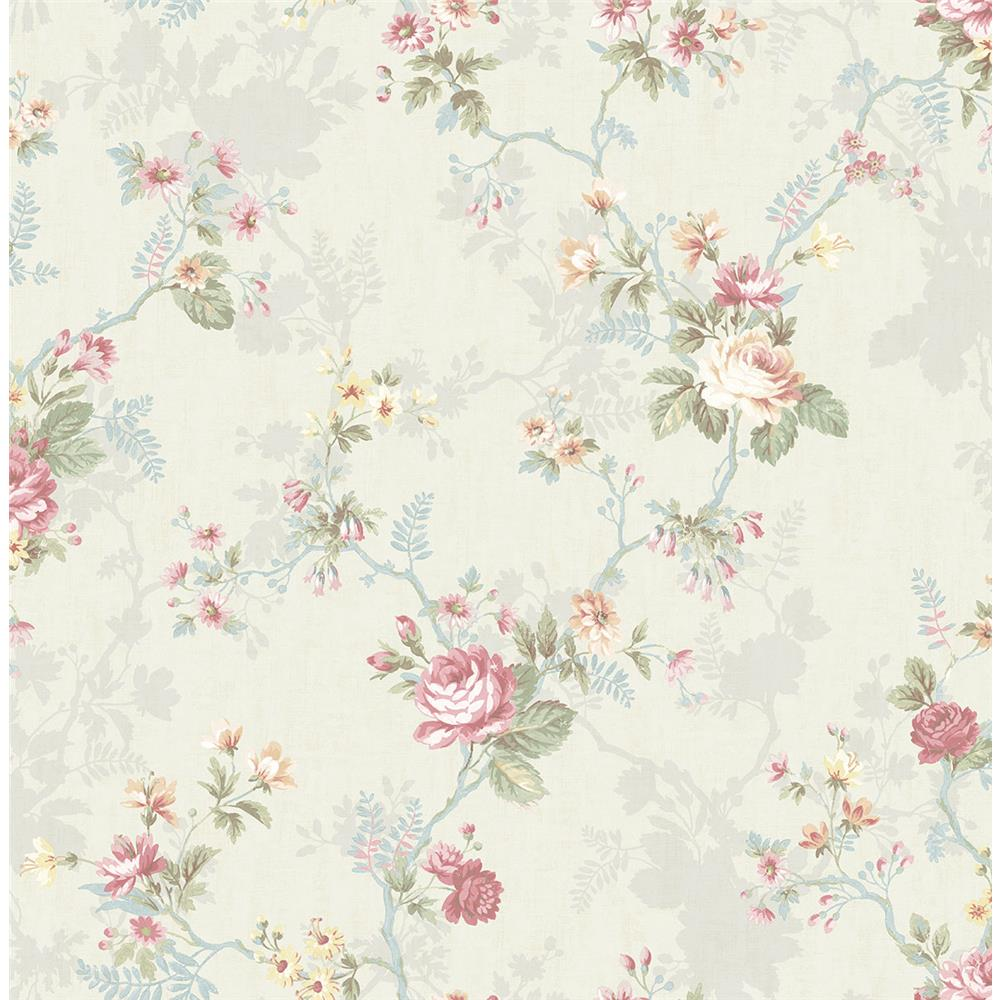 Wallquest FL90302 French Cameo Lucina Floral Wallpaper in Pink
