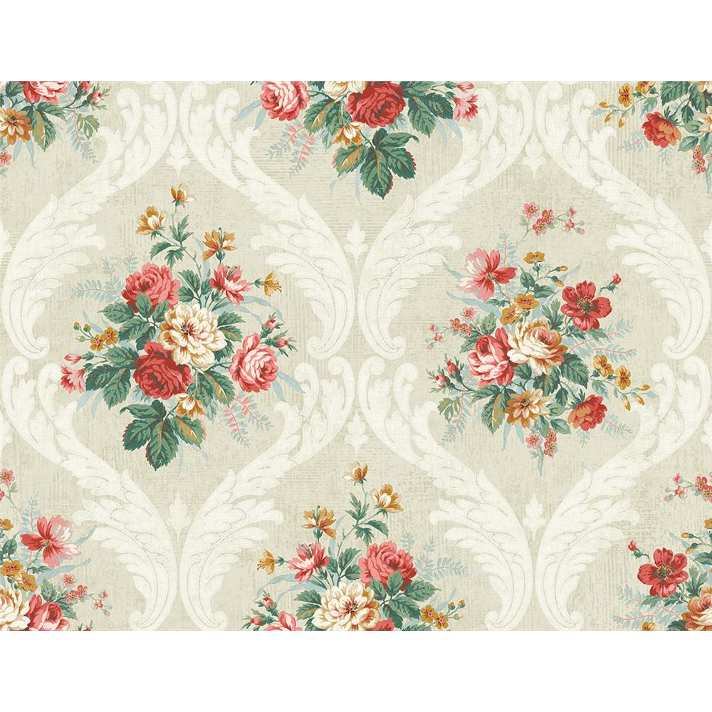 Wallquest FL90401 French Cameo Peyton Floral Wallpaper in Red