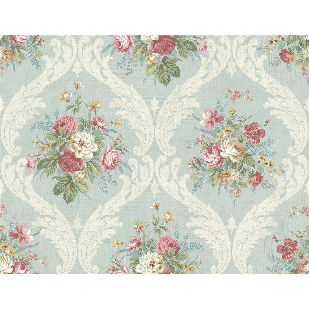 Wallquest FL90402 French Cameo Peyton Floral Wallpaper in Blue