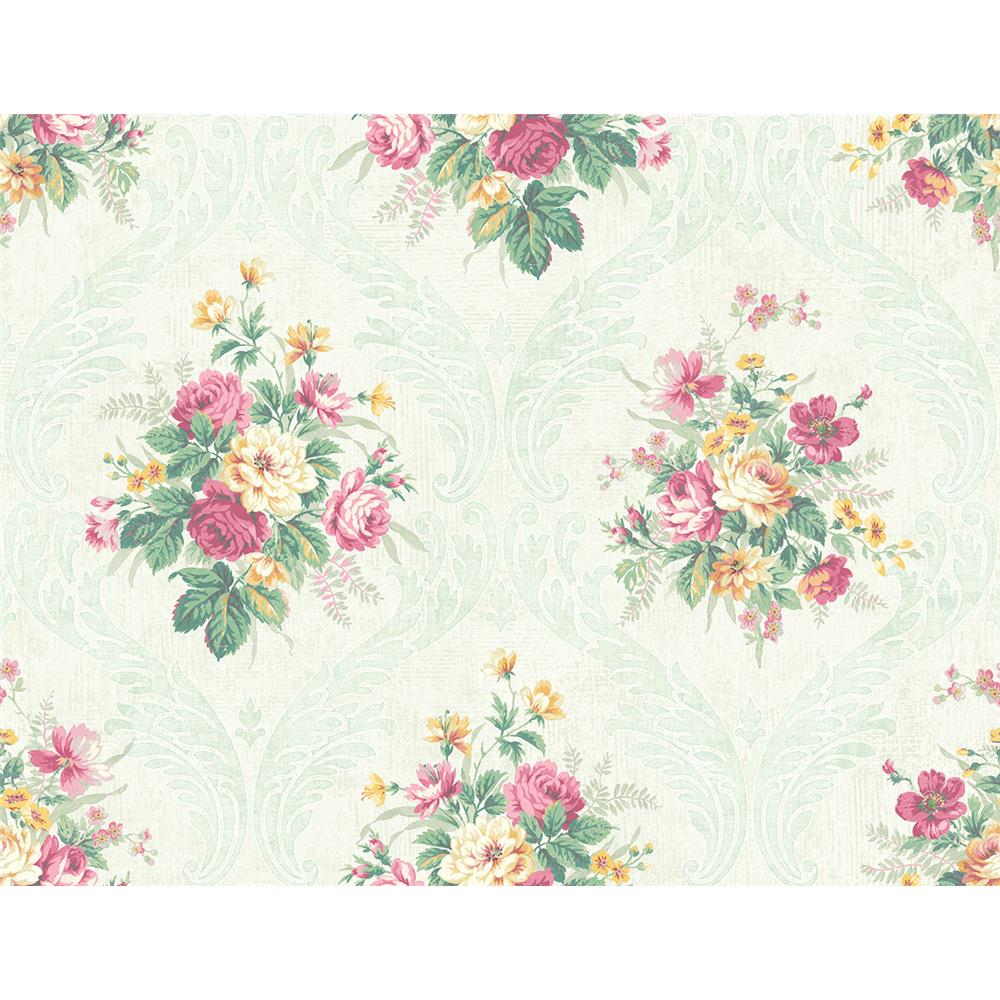Wallquest FL90404 French Cameo Peyton Floral Wallpaper in Green