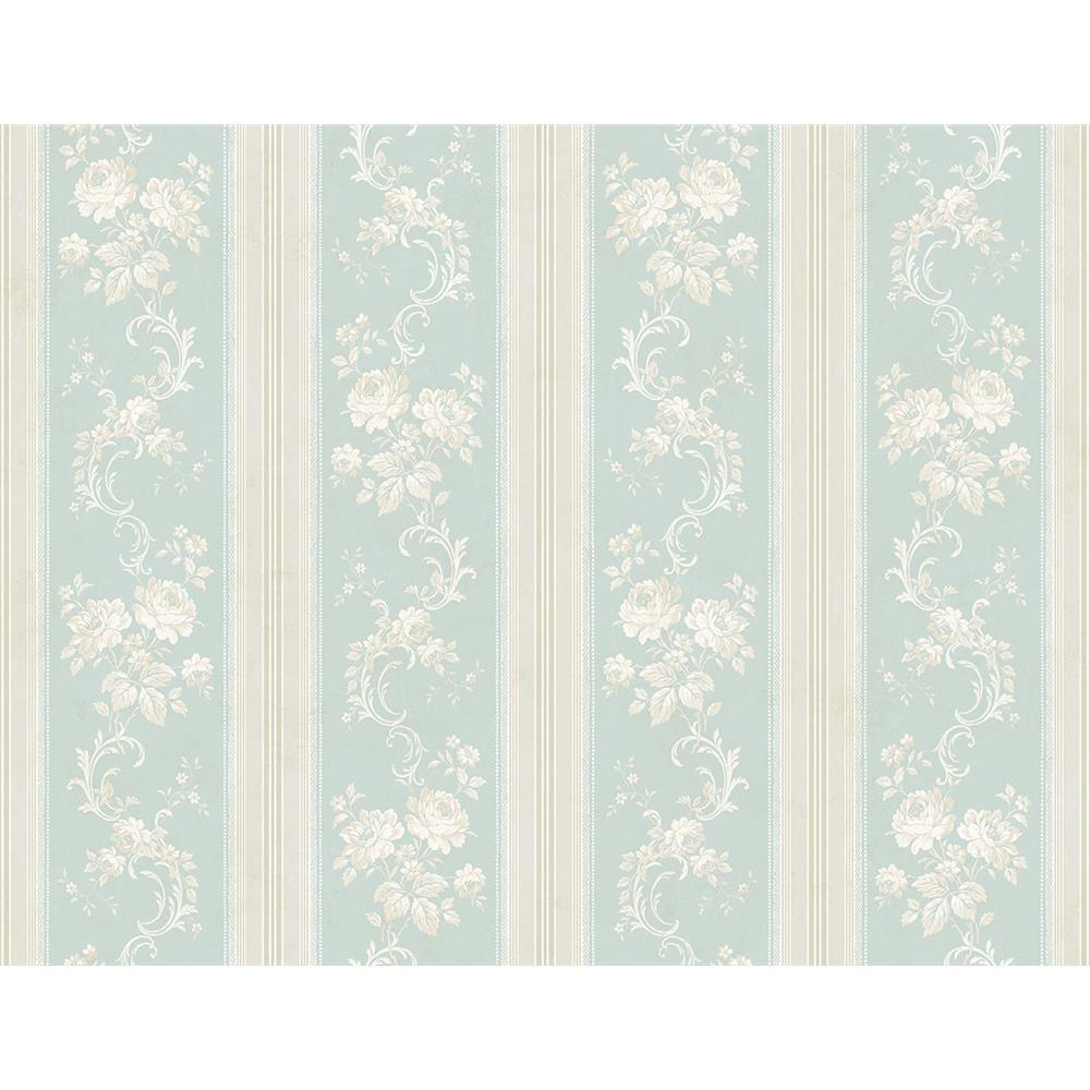 Wallquest FL90502 French Cameo Olette Striped Wallpaper in Blue