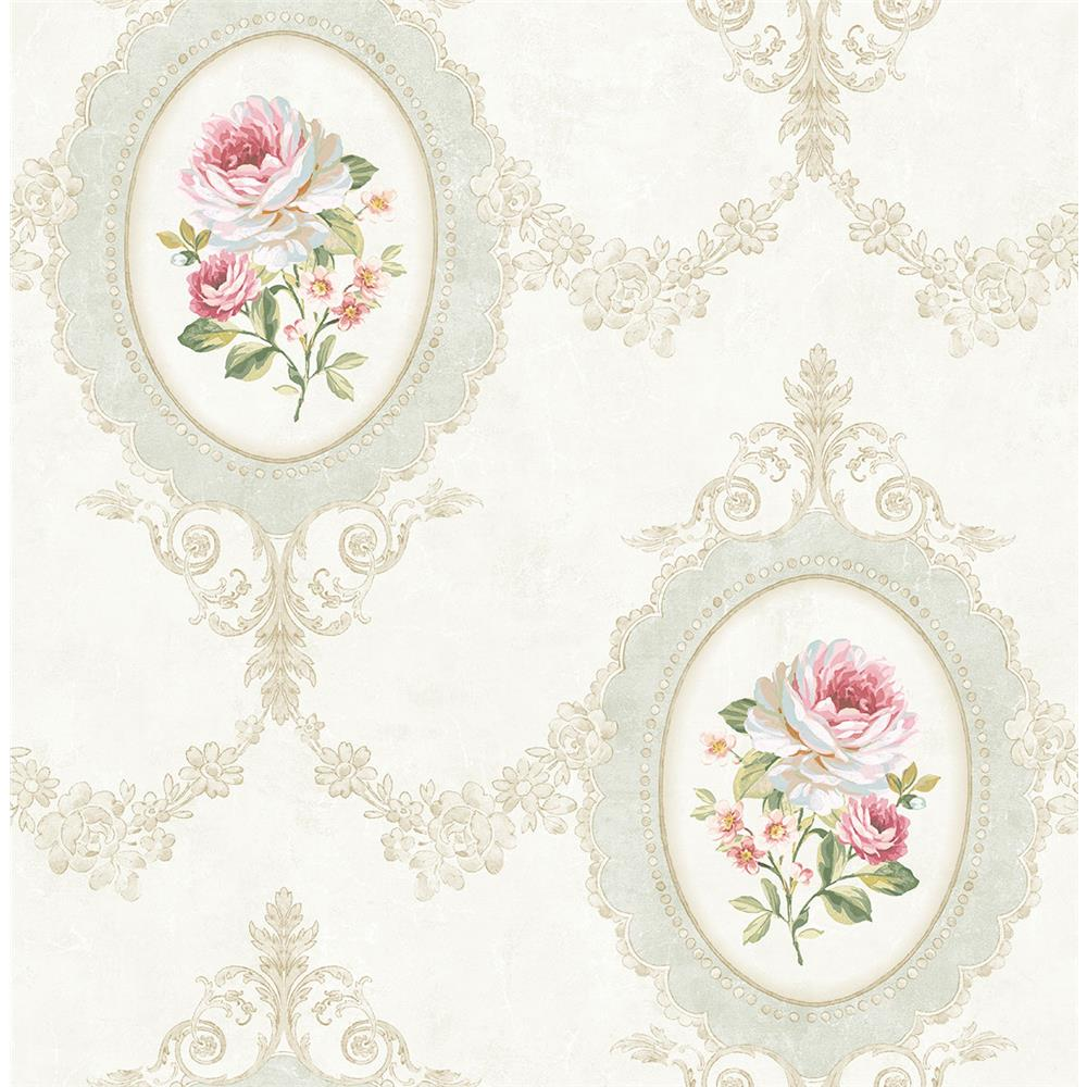 Wallquest FL91701 French Cameo Aubrey Toile Wallpaper in Neutral
