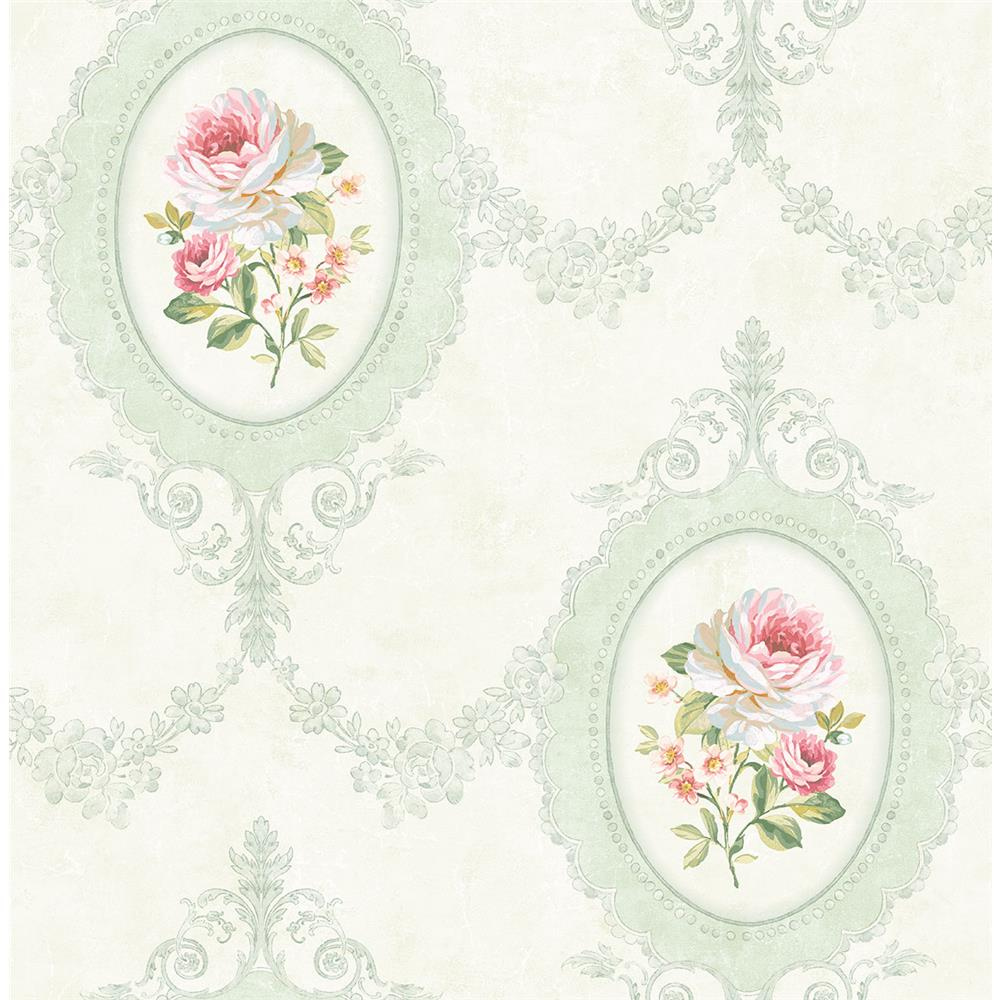 Wallquest FL91704 French Cameo Aubrey Toile Wallpaper in Green