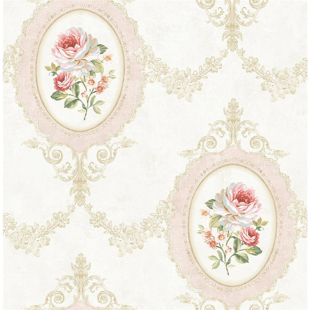 Wallquest FL91705 French Cameo Aubrey Toile Wallpaper in PInk