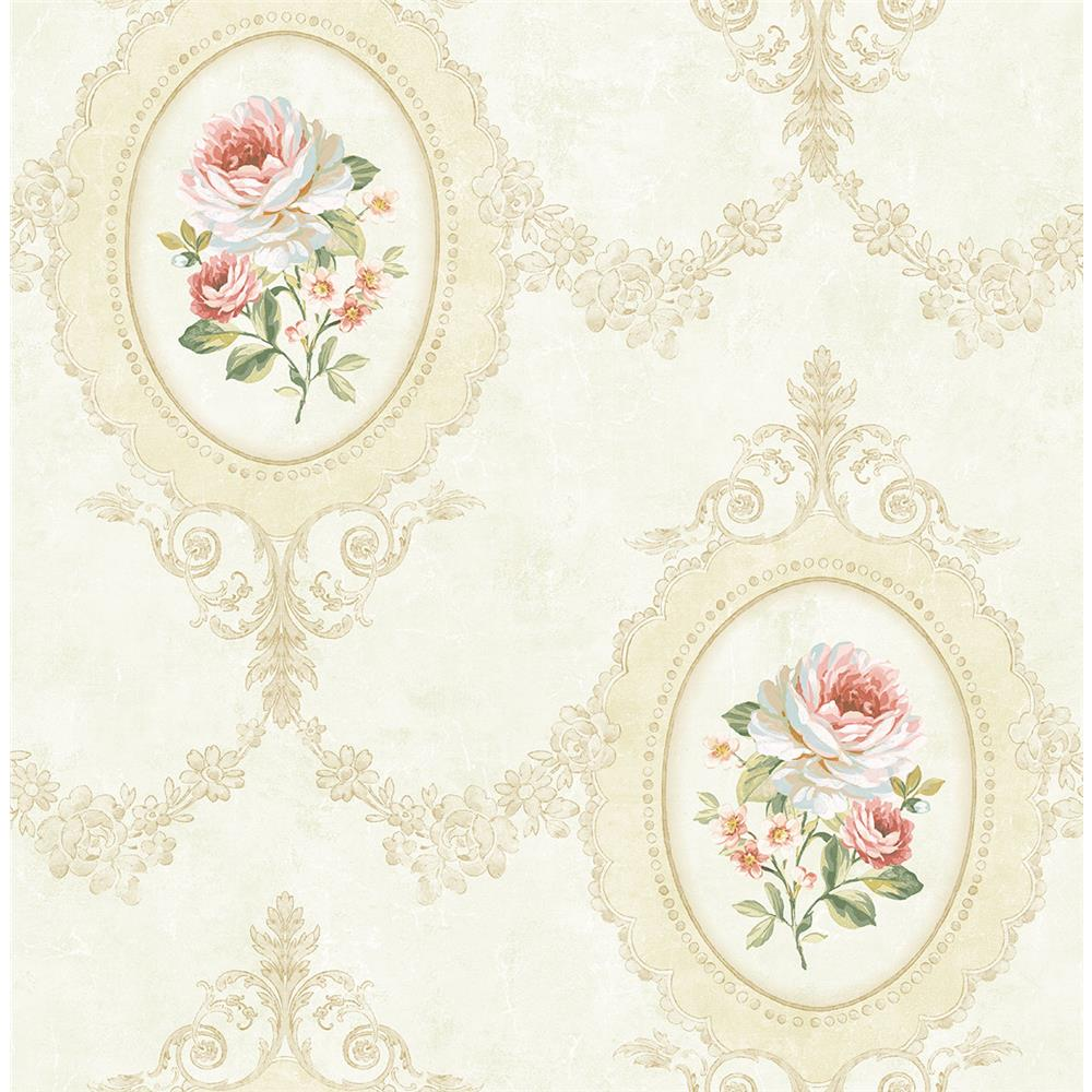 Wallquest FL91707 French Cameo Aubrey Toile Wallpaper in Beige