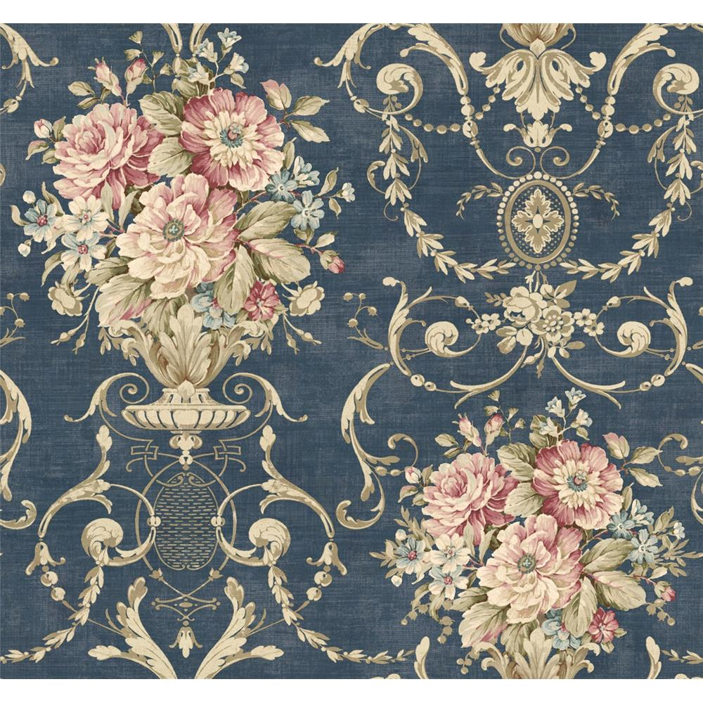 Wallquest TX40002 Cambridge Decadence Floral Wallpaper in Blue